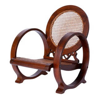 British Colonial Rosewood Caned Chair Probably Jamaican For Sale