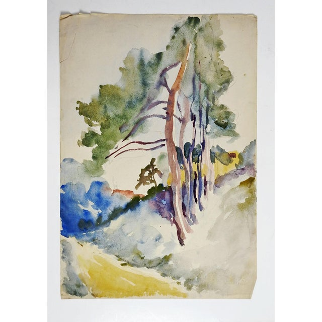 Tree-Lined Country Lane Watercolor Painting - Image 2 of 2