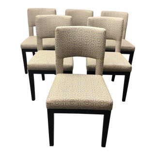 Set of Six Wood + Fabric Side Chairs by Plantation Home For Sale