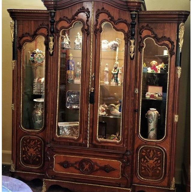 STUNNING 19th Century French Empire, Neo-Classical or Rococo Revival style marquetry vitrine or display cabinet…..of LARGE...