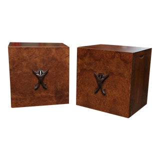 1940s Romweber Mid-Century Modern Burl Night Stands - a Pair For Sale