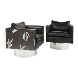 Leon Rosen for Pace Style Post Modern Lucite Cube Lounge Chairs For Sale
