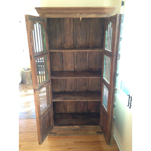 Moroccan Wooden Walnut Stained Armoire - Image 4 of 5