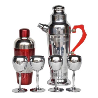 1940s Art Deco Chrome and Red Lucite Cocktail Shaker Set - 6 Pieces
