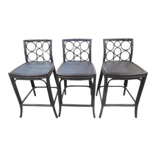 Circle Back Rattan Bar Stools- Set of 3 For Sale