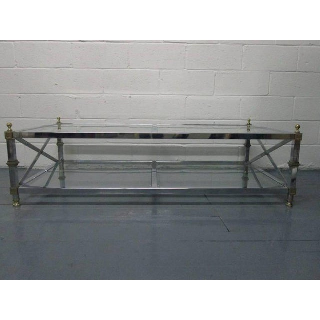 Chrome and Brass Coffee Table For Sale - Image 4 of 6