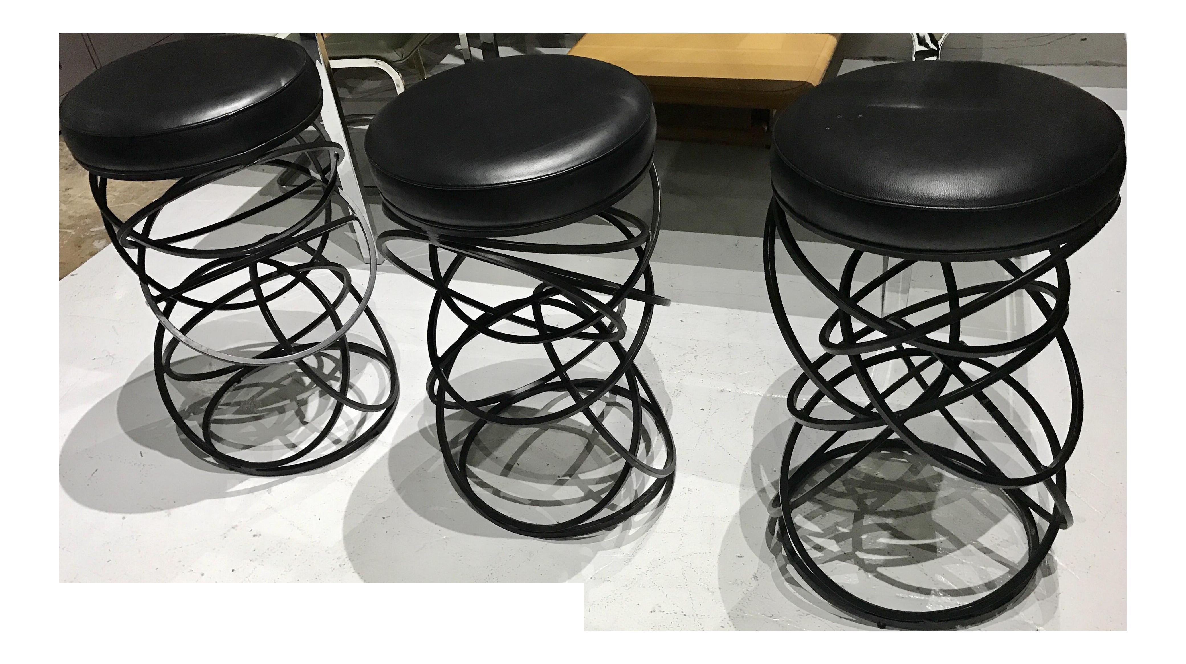 1970s mid century modern iron vinyl bar stools set of 3 chairish 1840s Interior Decor 1970s mid century modern iron vinyl bar stools set of 3 for sale