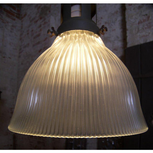 Fluted-Glass Holophane Pendant For Sale In New York - Image 6 of 9