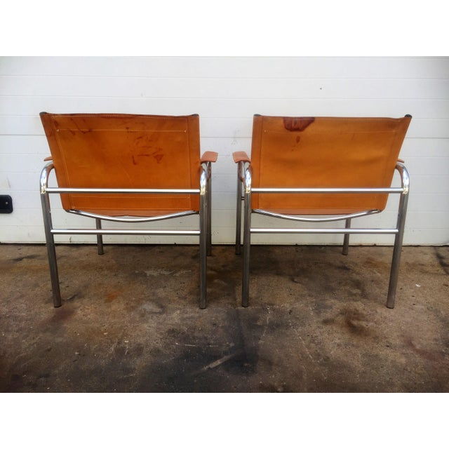 Distressed Leather & Chrome Sling Chairs - A Pair For Sale In Philadelphia - Image 6 of 8