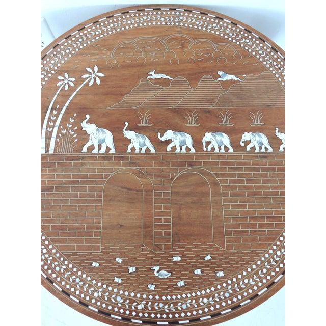 Metal Vintage Inlayed Indian 'Elephant Caravan' Teak Wood & Ebony Round Coffee / Side Table For Sale - Image 7 of 8