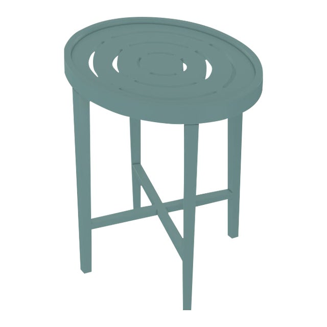 Oomph On the Rocks Oval Outdoor Side Table, Green For Sale