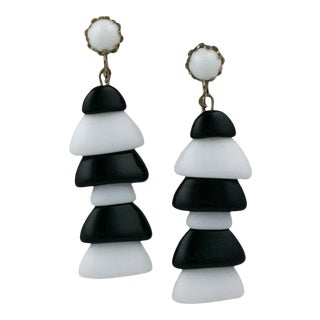 Miriam Haskell Black and White Pagoda Earrings For Sale