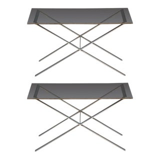 Pair of Minimalistic Stainless Steel and Glass Side Tables For Sale
