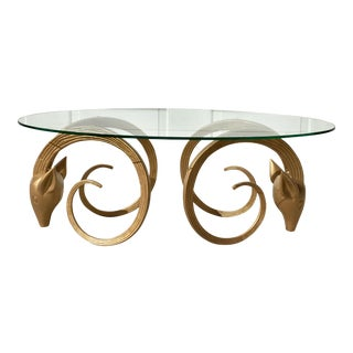 Vintage Hollywood Regency Ibex Ram's or Gazelle Head Brass Color Coffee Table For Sale