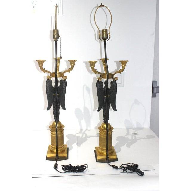 Metal Antique French Empire Bronze Candelabra Lamps - a Pair For Sale - Image 7 of 13