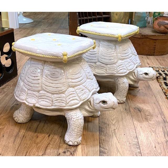 Hollywood Regency Mid Century Pair, Italian Turtle Garden Seats For Sale - Image 3 of 12