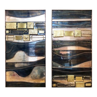 Abstract Mixed Metal Wall Sculptures by C. Jeré - a Pair For Sale