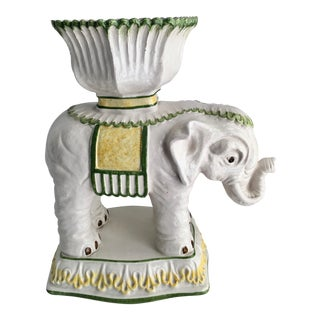 Italian Ceramic Elephant Cachepot Planter For Sale