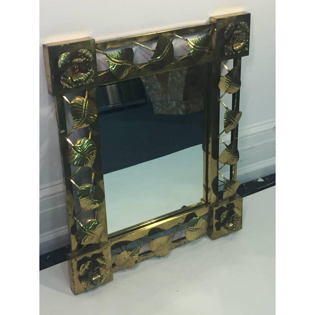 Modern Modern Brass Stylized Flower and Leaves Mirror For Sale - Image 3 of 11