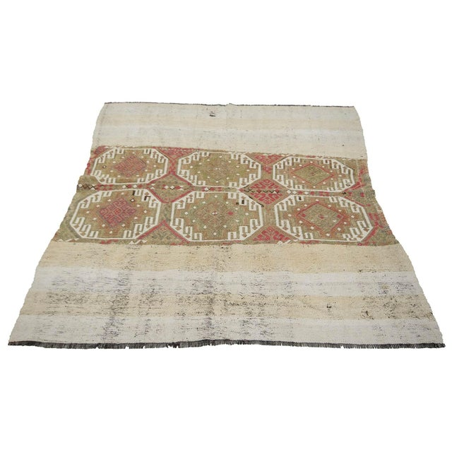 Decorative vintage handwoven kilim rug from Marash region of Turkey. Approximately 50-60 years old. In very good condition.