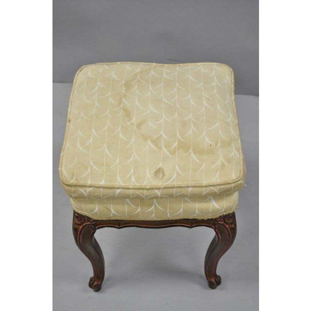 Vintage French Provincial Louis XV Style Upholstered Stool Bench For Sale - Image 4 of 10