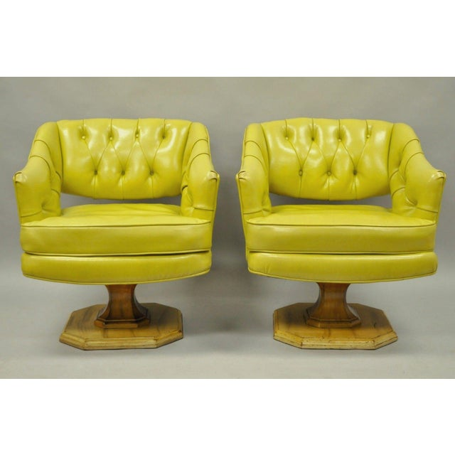 Item: Great Pair of Vintage Mid Century Modern Greenish Yellow Tufted Vinyl Swivel Club Lounge by Silver-Craft Furniture...
