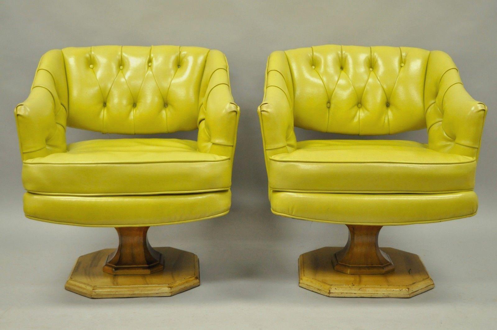 Bon Item: Great Pair Of Vintage Mid Century Modern Greenish Yellow Tufted Vinyl  Swivel Club Lounge