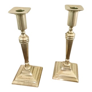Vintage Brass Candles Holders- a Pair For Sale