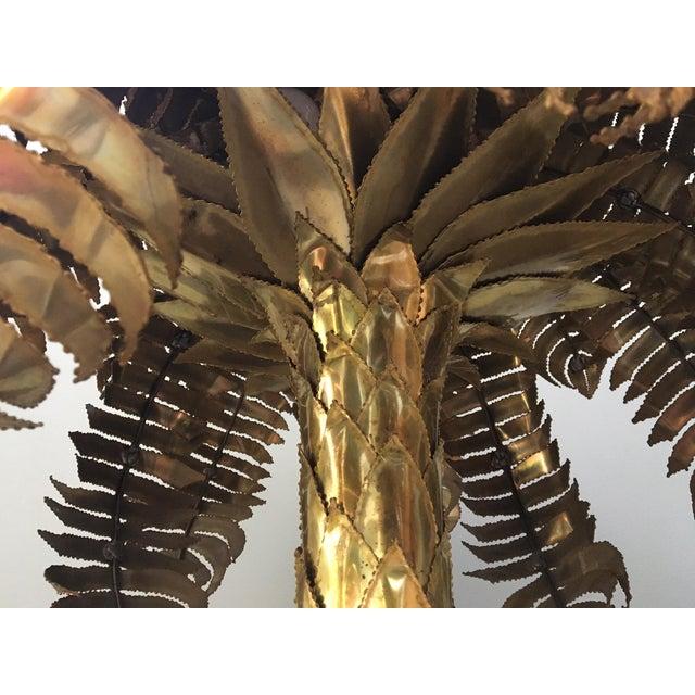 Maison Jansen Style Monumental Hollywood Regency Brass Palm Tree Floor Lamp - Image 5 of 6