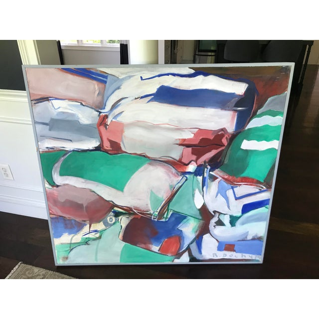 Mid Century Modern Original Abstract Oil Painting on Canvas For Sale - Image 6 of 10