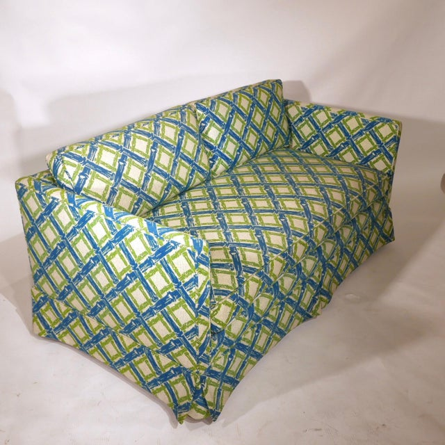 Pair of Regency Chinoiserie Tuxedo Settees in Lattice Bamboo Upholstery For Sale - Image 12 of 13
