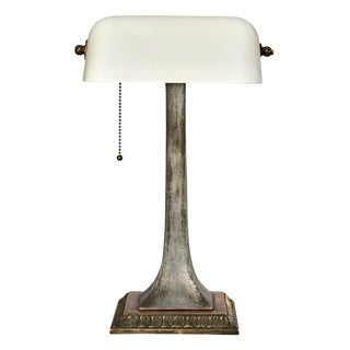 Antique Art Deco Brass and Copper Desk Lamp With Curved Milk Glass Shade For Sale
