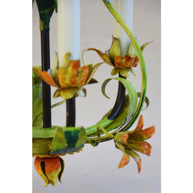 Vintage Italian Three Arm/Light Lily Flower Tole Chandelier For Sale - Image 9 of 11