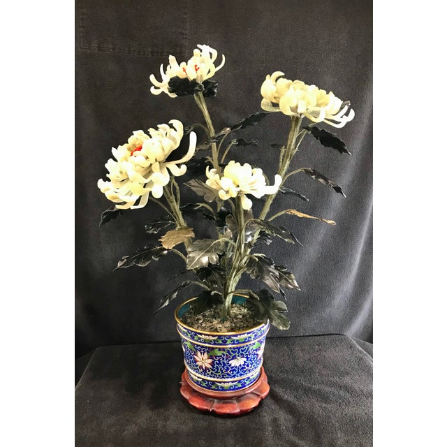 """Chinese Vintage Chinese Chrysanthemum Jade Tree With Cloisonné Pot and Stand - 24"""" Tall For Sale - Image 3 of 12"""