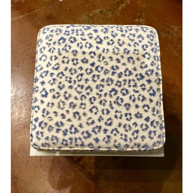 Port 68 Port 68 Transitional Blue and White Leopard Print Doheney Bench For Sale - Image 4 of 6
