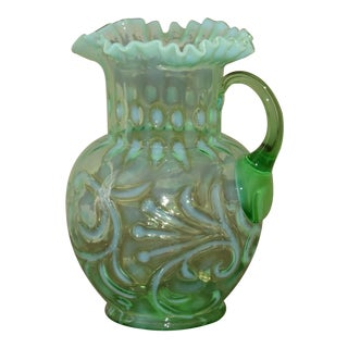 """Early 20th Century Antique Jefferson Glass Co""""Buttons & Braids"""" Pitcher For Sale"""