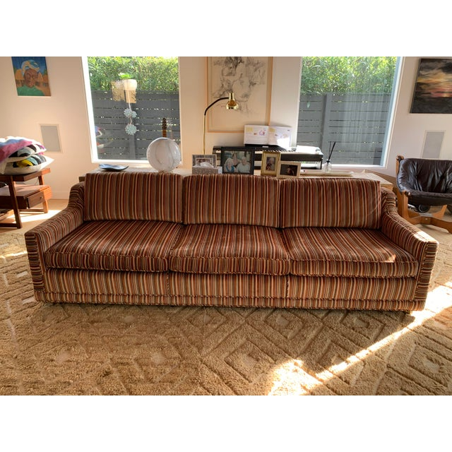 1970s 1970s Velvet Striped Couch- Original Upholstery For Sale - Image 5 of 7