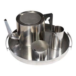 1960's Arne Jacobsen Cylinda Line for Stelton Danish Modern Tea Set - 4 Pieces For Sale