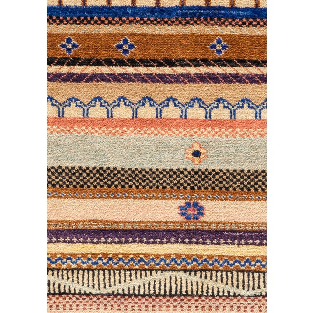 """Primitive Lori, Hand Knotted Area Rug - 4'2"""" X 6'3"""" For Sale - Image 3 of 3"""
