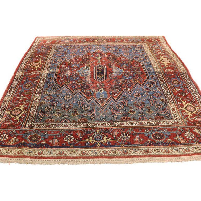 Islamic Early 20th Century Antique Persian Malayer Accent Rug - 4′9″ × 5′3″ For Sale - Image 3 of 5