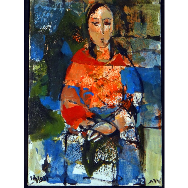 """Abstract 1950s Vintage Ruth Schloss """"Sephardic Woman"""" Oil on Canvas Painting For Sale - Image 3 of 10"""