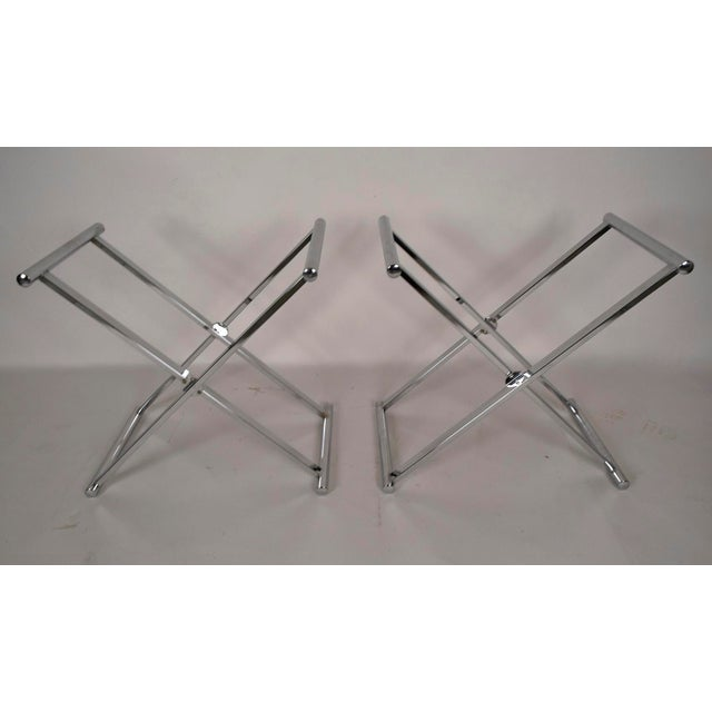Mid-Century Modern Chrome and Glass Console Table - Image 6 of 6