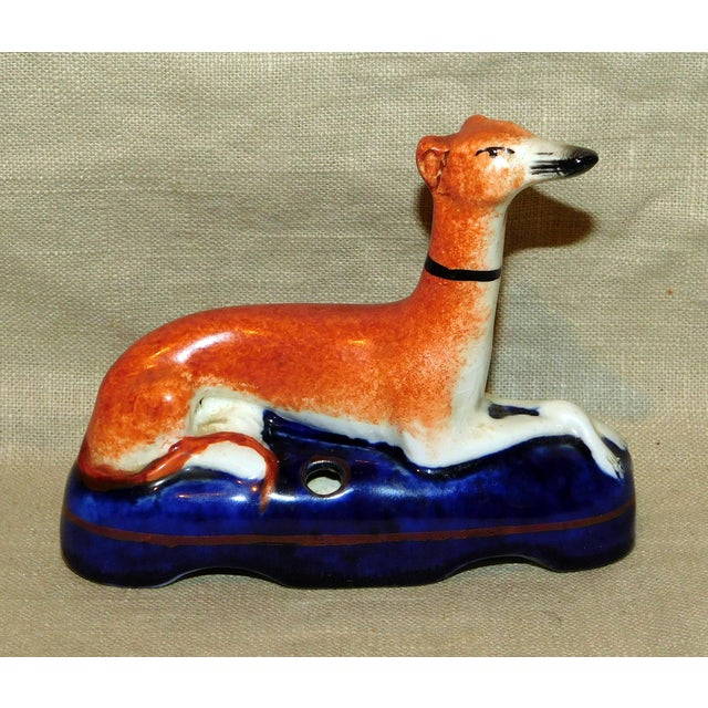 Ceramic Antique Staffordshire Whippet Pen Stand For Sale - Image 7 of 7