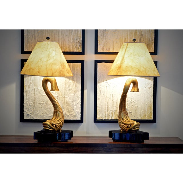 Giltwood Dolphine Lamps - a Pair For Sale - Image 9 of 10