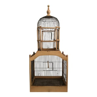 20th Century Victorian Domed Wood and Wire Birdcage