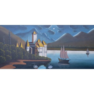 Large Antique Lake Landscape With Swans For Sale