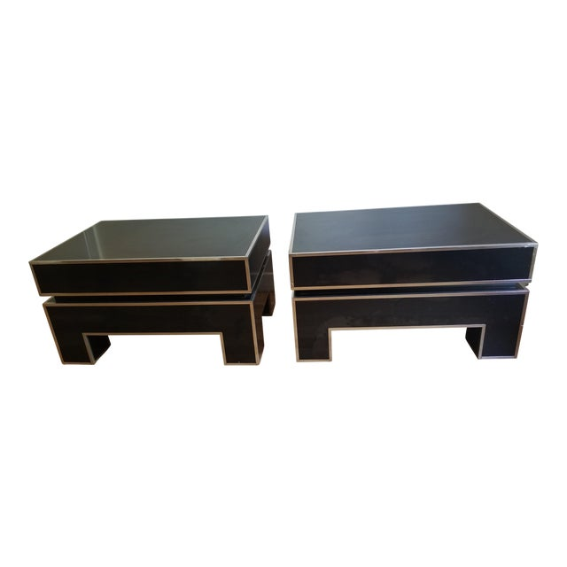 Chrome Trimmed Lacquered Side Tables - A Pair - Image 1 of 7