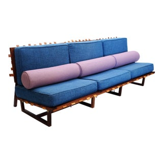 Contemporary African Mahogany, Leather, & Tweed Upholstery Sofa For Sale