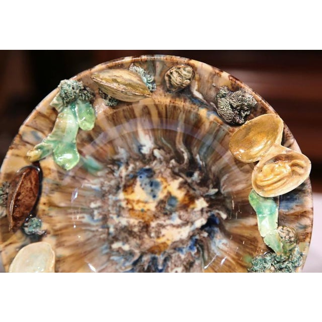 Early 20th Century Barbotine Wall Hanging Plates With Seashells - A Pair For Sale - Image 5 of 10