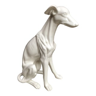 Vintage Life Sized Mid Century Porcelain Greyhound For Sale